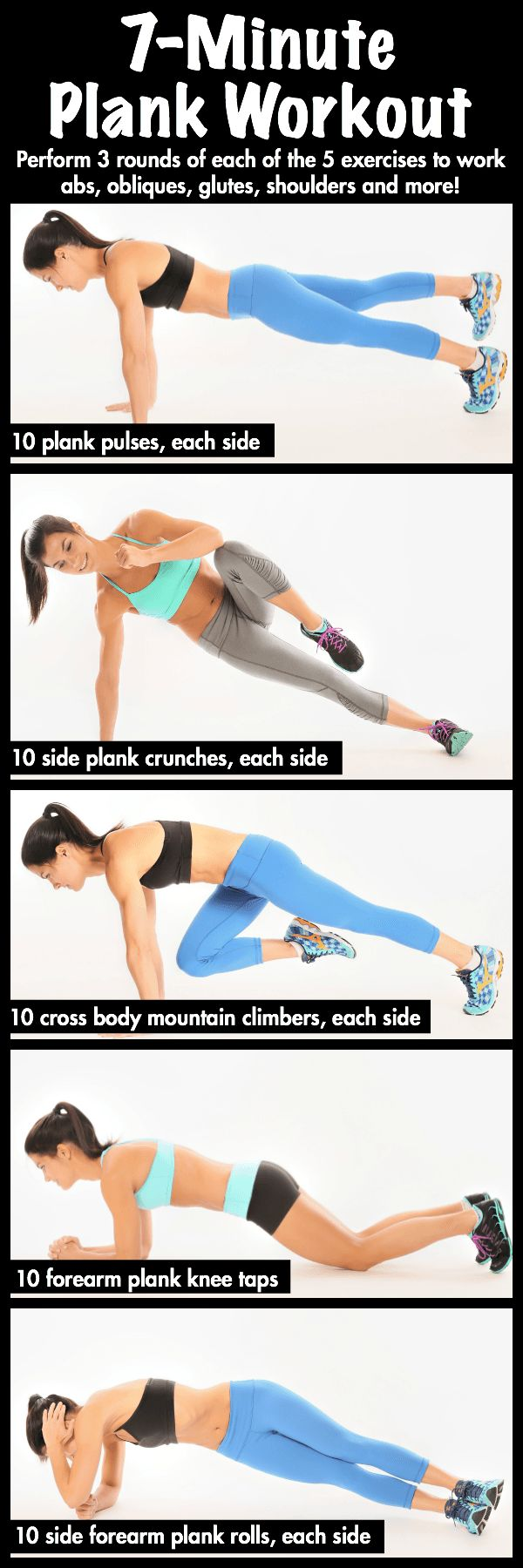A 7-minute bodyweight plank workout that trains the abs, obliques, glutes, hamstrings and shoulders and can be done anywhere!