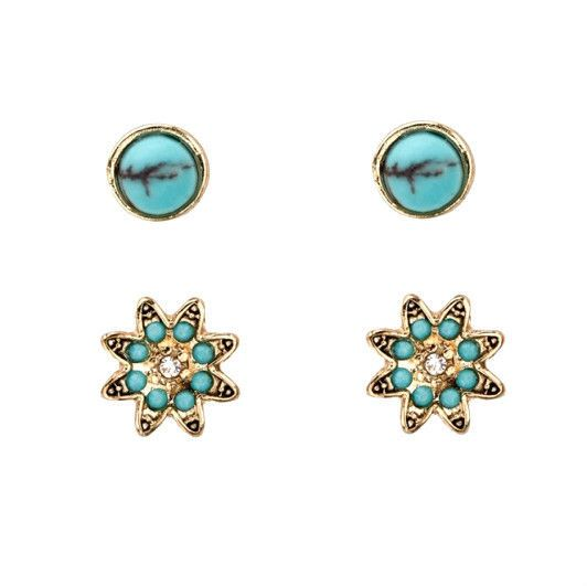 Women TURQUOISE FLOWER STUD PACK Earring Ear Stud Perfect Gift *FREE Shipping