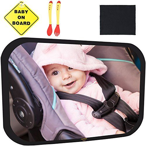Baby Car Mirror Bundle - Best Baby Backseat Mirror for your child - The Safest & Largest Baby Mirror - Fully Assembled & Adjustable - Crash-tested - Baby Mirror for Car Rear-Facing Infant and Sight. For product info go to:  https://www.caraccessoriesonlinemarket.com/baby-car-mirror-bundle-best-baby-backseat-mirror-for-your-child-the-safest-largest-baby-mirror-fully-assembled-adjustable-crash-tested-baby-mirror-for-car-rear-facing-infant-and/
