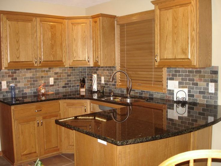 Ubatuba Granite With Oak Cabinets | Oak Kitchen Cabinets With Black  Countertops | ... Pearl Or UbaTuba ... | Ideas For The House | Pinterest |  Black ...