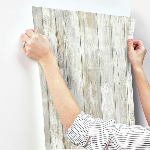 Roommates Distressed Wood Peel And Stick Wallpaper Tan In 2021 Stick On Wood Wall Peel And Stick Wood Peel And Stick Wallpaper