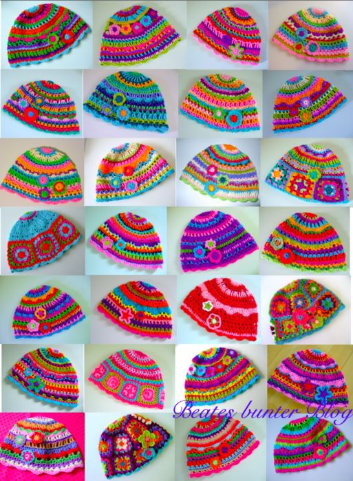 Free colorful hat, crochet pattern
