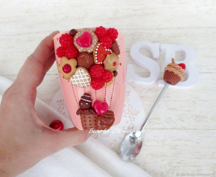 Купить Кружка ложка Сладкая сказка с пряничками - розовый, сладкая сказка, пряник, пряничный человечек