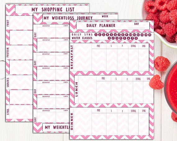 Slimming World Food Diary Printable Pink Colours Food Diary