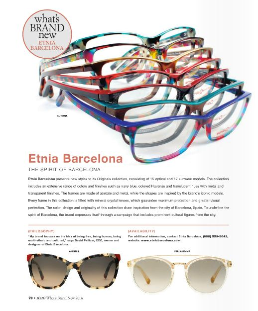The unique colors in Etnia Barcelona's new styles reflect the spirit of the city of Barcelona http://www.EyeElegance.com/Styles/Womens/