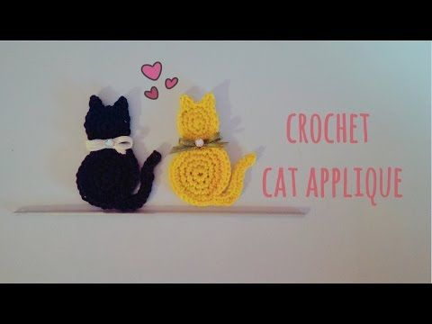 How to crochet a cat applique   English tutorial - YouTube