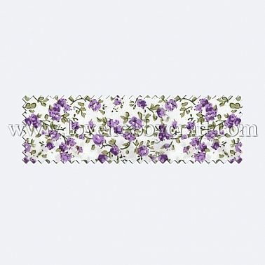 vintage printed flower woven fabric with leaves lilac polyester