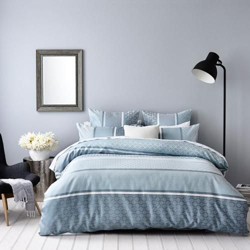Great muted blues for a guest bedroom - Mercer + Reid Lucca - Bedroom Quilt Covers & Coverlets - Adairs online