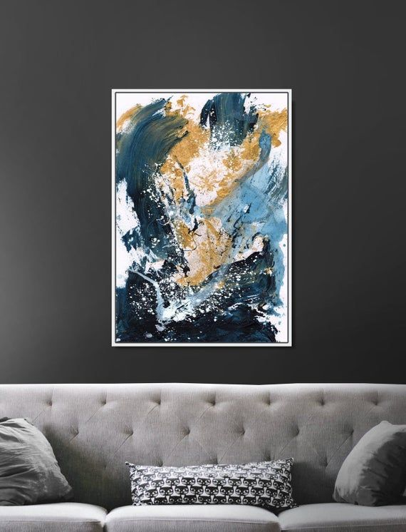 Large Wall Art Large Abstract Painting Gold And Blue Art Etsy In 2021 Large Abstract Wall Art Abstract Painting Large Abstract Painting Artwork for living room uk