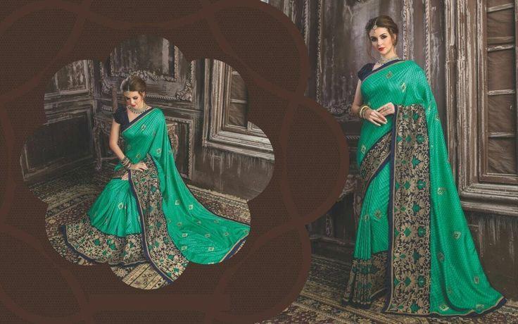 Awesome Green Saree,Designer saree,Silk Saree,Party Wear Saree,Festival saree,buy saree online