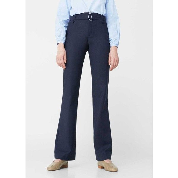 MANGO Cotton Suit Trousers (530 SEK) ❤ liked on Polyvore featuring pants, dress trousers, mango trousers, button pants, cotton pants and mango pants
