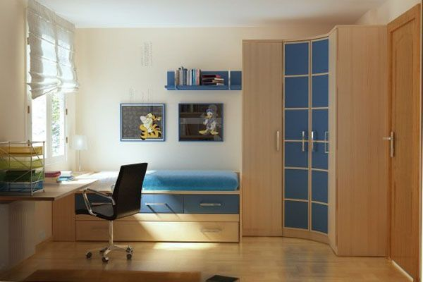Blue Desk Chair idea bed lamp room young man teen design shelf curtain window wood