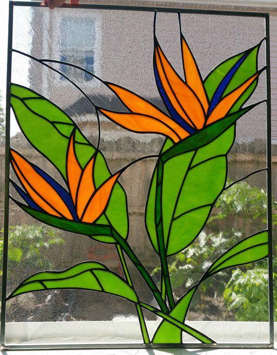 Bird of Paradise Flower Stained Glass Window Panel Custom OOAK