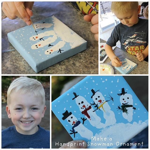 decorate handprint to look like snowmen.