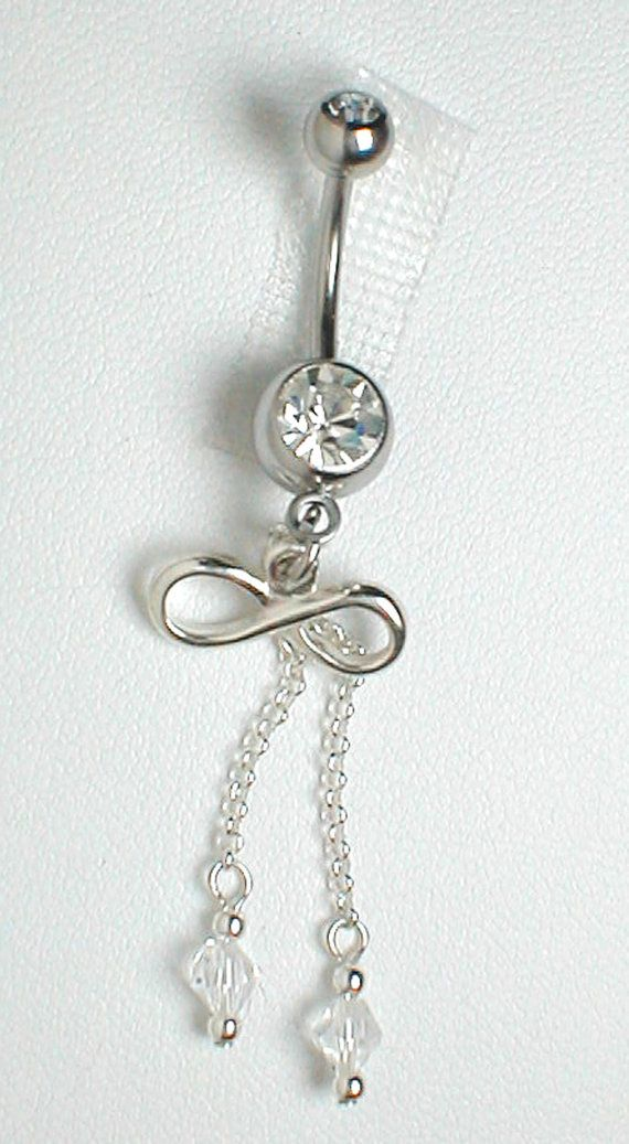 unique belly rings | Unique Belly Ring - Sterling Silver Infinity w/ or without Crystals