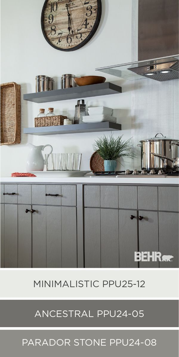 Think outside the black and white box for your kitchen remodel by choosing soothing, sophisticated shades. Try a mid-tone gray for an updated, yet classic color choice for kitchen cabinets and shelving. This beautiful kitchen makeover features Minimalistic, Ancestral, and Parador Stone. Life in Gray has never looked so good!