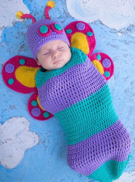 Free Crochet Patterns For Baby Halloween Costumes : Baby Crochet Cocoon Butterfly Costume Newborn crown, So ...