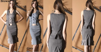 Starting bid:US $79.90  2pc button front skirt suit S,M or L Brown or Grey