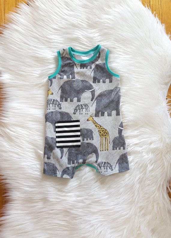 Safari Adventure Summer Shorts Romper Baby Boy by brambleandbough