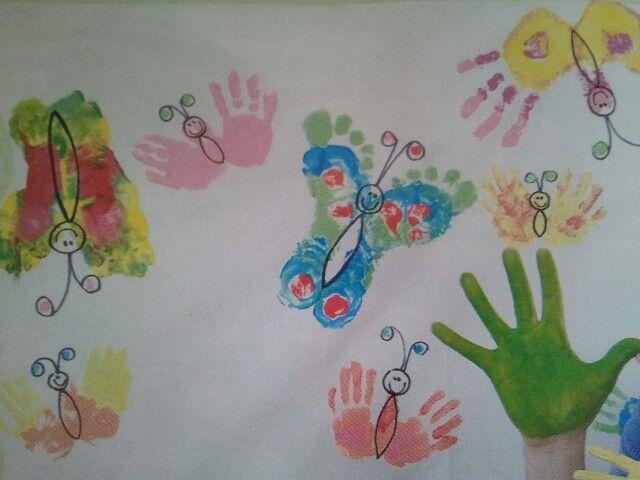 Haciendo mariposas con pies y manos!!!