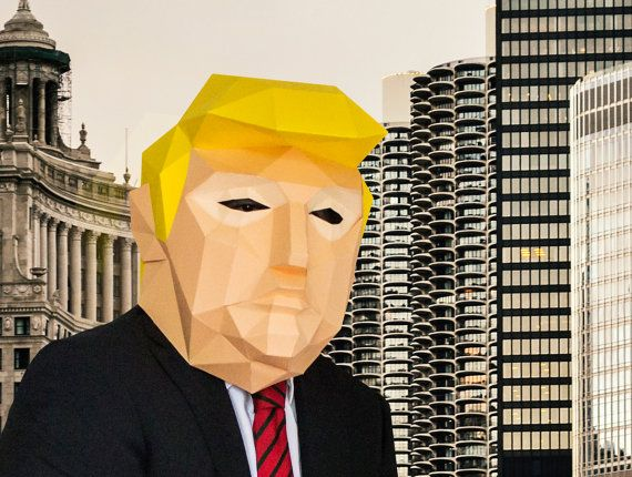 Make your own Donald Trump Mask, DIY Trump Head, Instant Pdf download, DIY Printable Paper Mask, US Presidential Election 2016