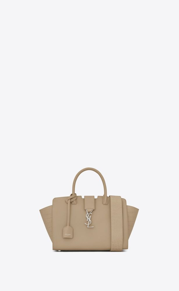 74617ed951e3 SAINT LAURENT MONOGRAMME TOTE Woman Baby DOWNTOWN Cabas YSL Bag in Dark  Beige Leather and Crocodile