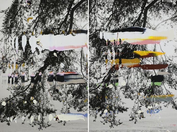 "Nanna Hanninen, ""Pine Tree Diptych"" (2012) digital C-print on diasec, mounted on MDF with Oak frame."