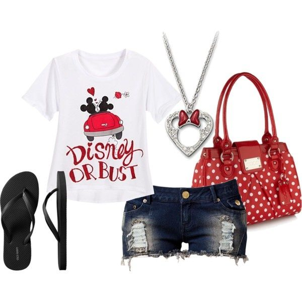 Disney or Bust, Perfect Disney World outfit. Definitely not the shorts for me, but love the rest :)
