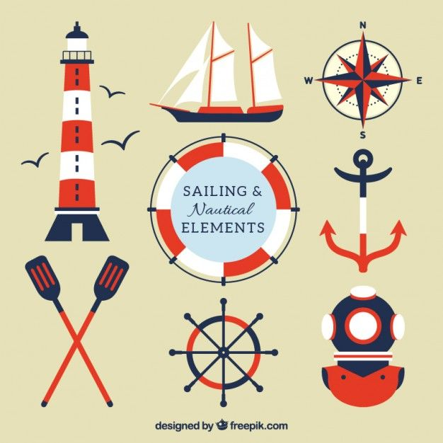 Red and blue sailing elements Free Vector