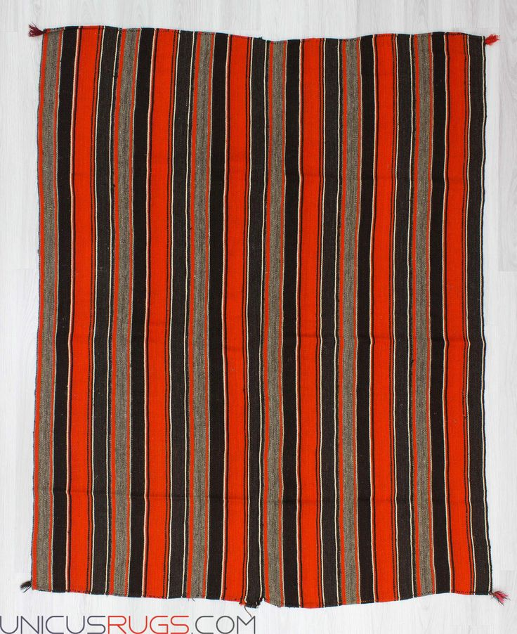 """Handwoven vintage decorative striped kilim rug from Malatya region of Turkey. In good condition. Approximately 50-60 years old. Width: 5' 11"""" - Length: 7' 5"""" Striped Kilims"""