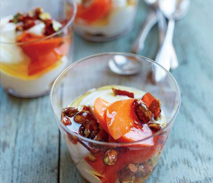 Mediterranean Dishes under 400 calories: Yogurt with Pistachio Brittle #SelfMagazine