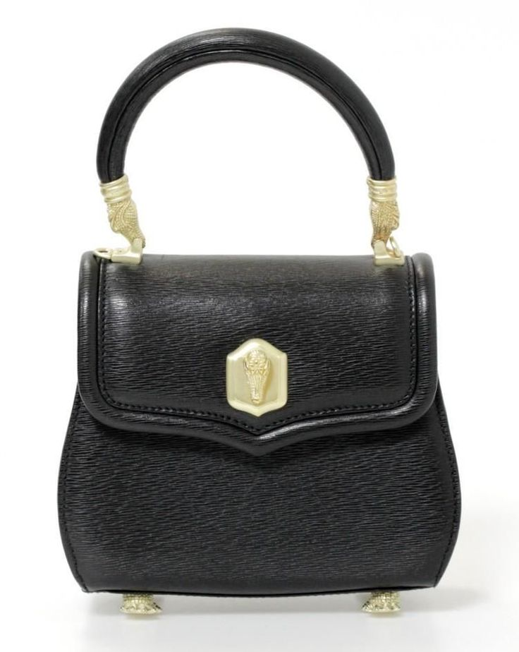 Barry Kieselstein-Cord Black Leather & Gold Alligator Detail Bag #BarryKieselsteinCord #ShoulderBag