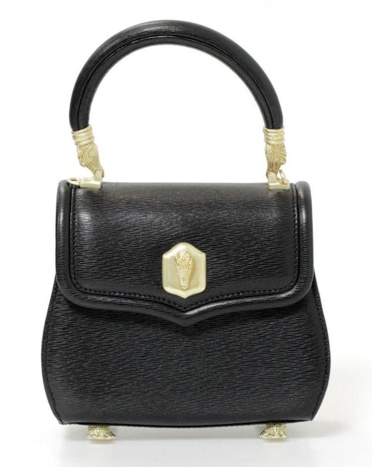 Barry Kieselstein-Cord Black Leather & Gold Alligator Detail Bag #BarryKieselsteinCord #ShoulderBag