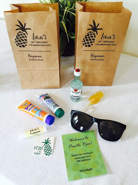 Out-of-town guest welcome bags for my sister's destination Tropical Pineapple 50th Birthday Party in Puerto Rico. Click or visit FabEveryday.com for more pics and planning details to inspire your milestone birthday party, destination wedding, bachelorette party, or shower. Pineapples, palm trees, flamingoes, oh my!