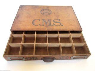 Antik Holzkiste Schublade Schubfach Nähkasten Sortierkasten Nähspulenbox Loft Bild