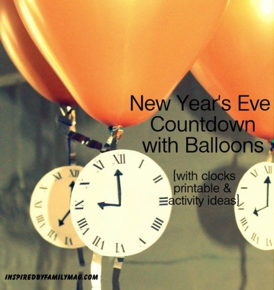 New Year's Eve Countdown with Balloons- pop a balloon each hour to discover the..... {printable and activity ideas} What activities would you add to the list?