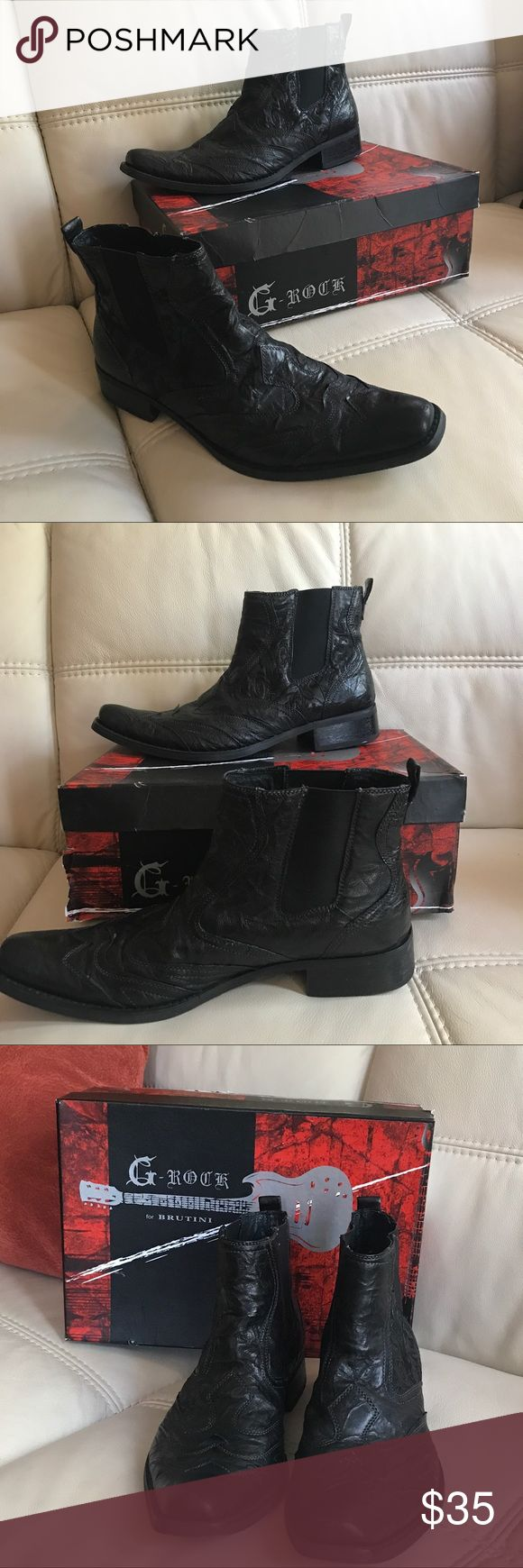 G-Rock for Brutini Ankle Boots About This Item:  GIORGIO BRUTINI G-Rock Black Leather Rockabilly Ankle Boots Men's - 9M  Guaranteed authentic. Please see pictures for complete description Giorgio Brutini Shoes Boots
