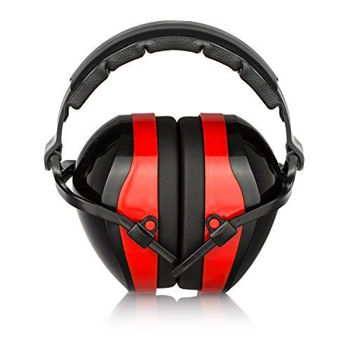 Bisonfield Premium Ear Muffs, Quality Ear Protection. Adjustable Padded Headband and Soft PVC Ear Cups and High NRR rating. Certified S3.19/EN352. Best for Gun Range, Shooting and Construction. RED
