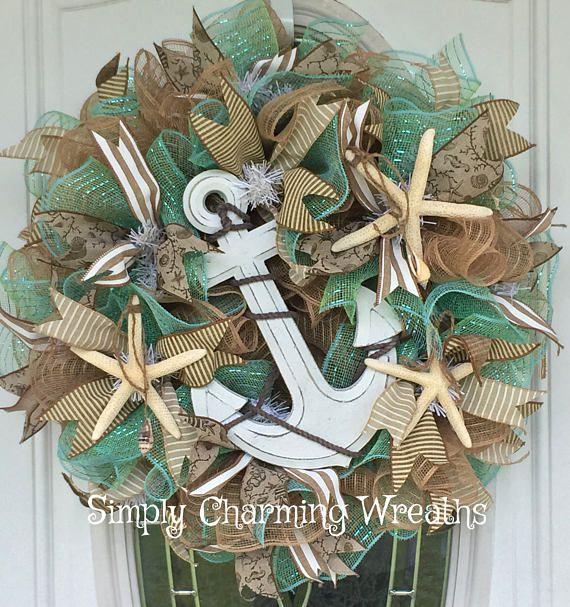 Beach Wreath Summer Wreath Coastal Wreath Anchor Wreath