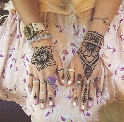 hippie boho nails spirituality henna rings amethyst