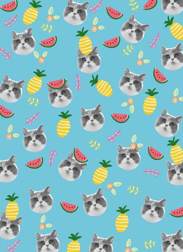 Chats,pastèque,ananas et bleu ! Toutes les choses que j'aime réunies en un seul tissus !