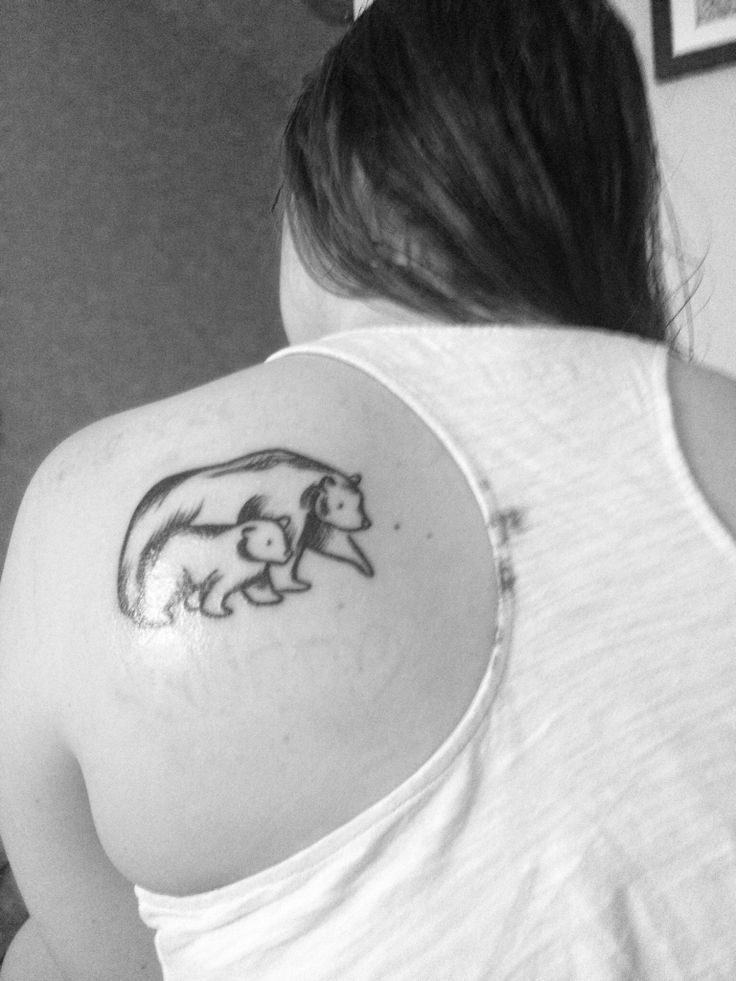 Mother and baby bear sketch tattoo on my shoulder. I drew the design myself!