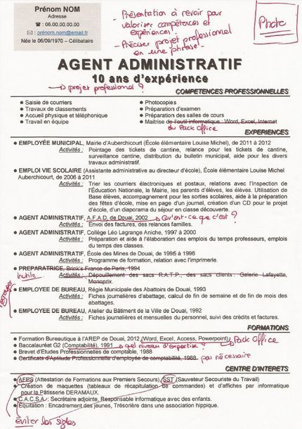 cv agent administratif
