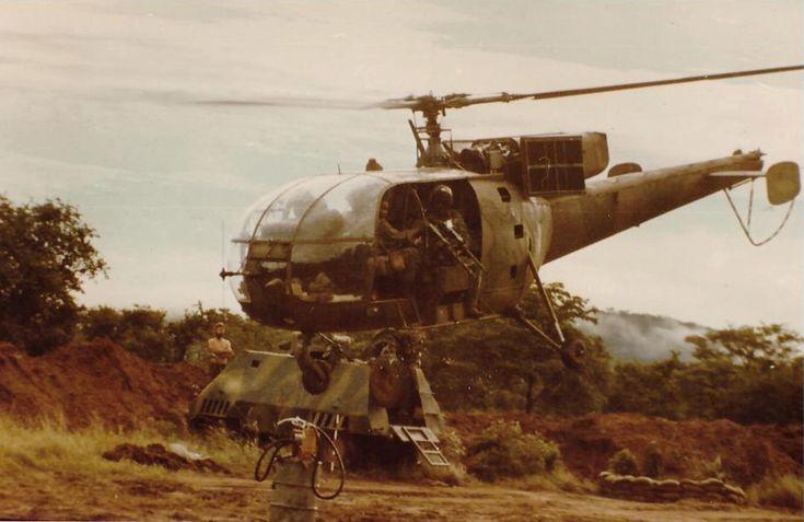 Rhodesian Air Force Alouette III during the Rhodesian Bush War. (Photo)