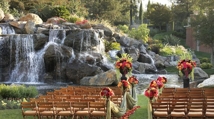 The Focal Point Of Hotel S Gardens Cascading Waterfall Is Framed By Giant Sequoias Creating Perfect Backdrop Fo Weddings Fswestlake