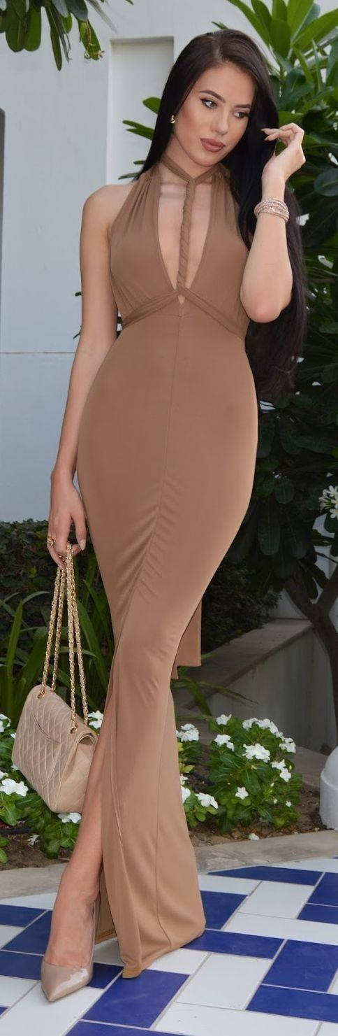 #summer #fashionistas #laurabadura #klaudiabadura |  Camel Maxi Dress