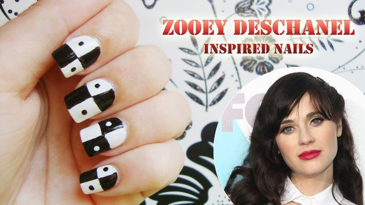 Zooey Deschanel Ispired Nails. Celebrity Inspired. Tutorial. Black and white