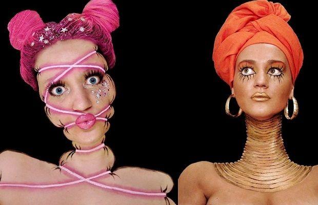 Siyah Arka Plan Kullanıp Gerçek Dışı Makyajlar Yapan Sanatçıdan 20 Çılgın Tasarım