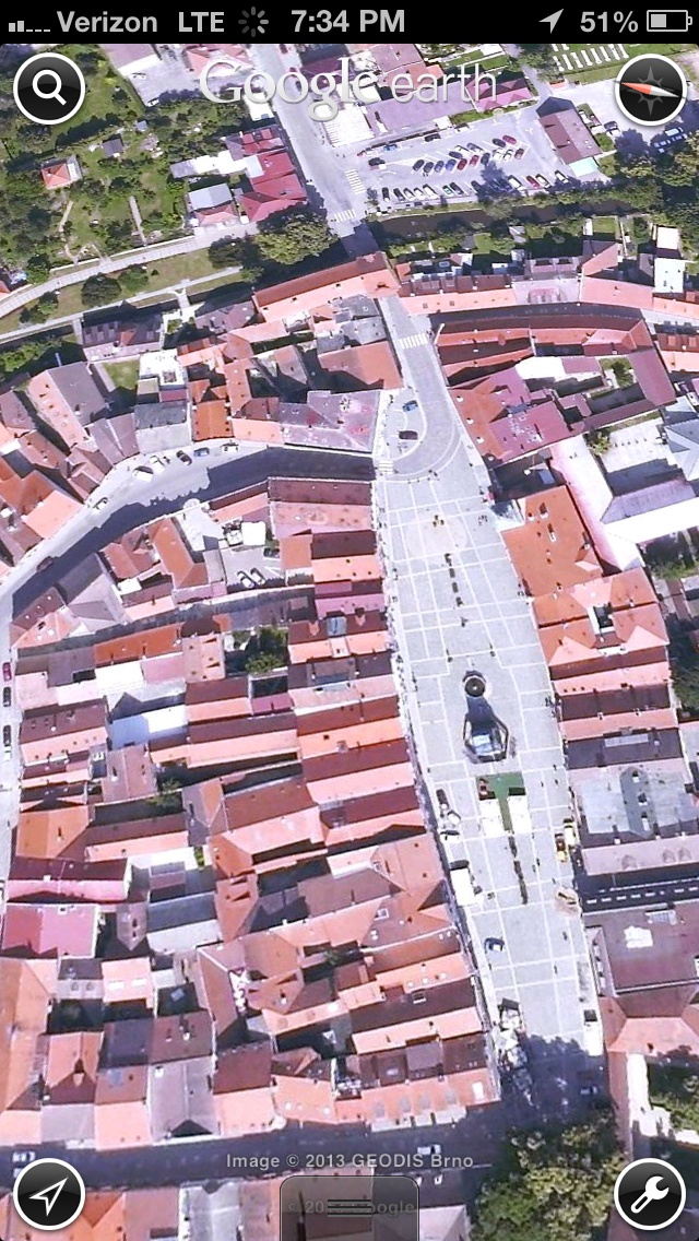 The square in the area of Trebon, Czech Republic, that i will be staying in