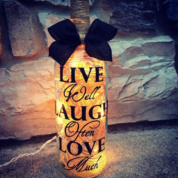 Love Laugh Love wine bottle light by BERKSWINEDESIGN on Etsy